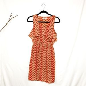 Ya Los Angeles Tan & Orange Chevron Dress Large